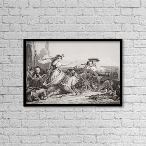 "Printscapes Wall Art: 18"" x 12"" Canvas Print With Black Frame - The Defence Of Saragossa 1808-9 by Ken Welsh"