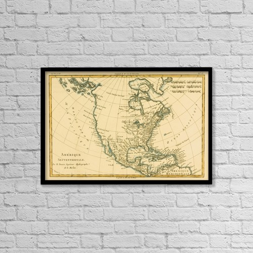 "Printscapes Wall Art: 18"" x 12"" Canvas Print With Black Frame - Map Of North America, Circa by Ken Welsh"