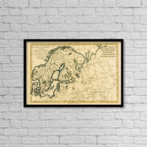 "Printscapes Wall Art: 18"" x 12"" Canvas Print With Black Frame - Map Of Northern Europe, Circa by Ken Welsh"