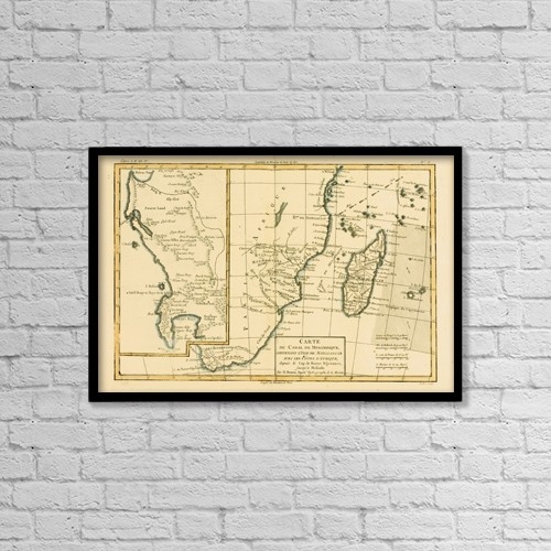 "Printscapes Wall Art: 18"" x 12"" Canvas Print With Black Frame - Map Of Southern Africa And Madagascar, Circa by Ken Welsh"