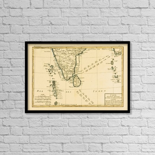 "Printscapes Wall Art: 18"" x 12"" Canvas Print With Black Frame - Map Of Southern India, Circa by Ken Welsh"