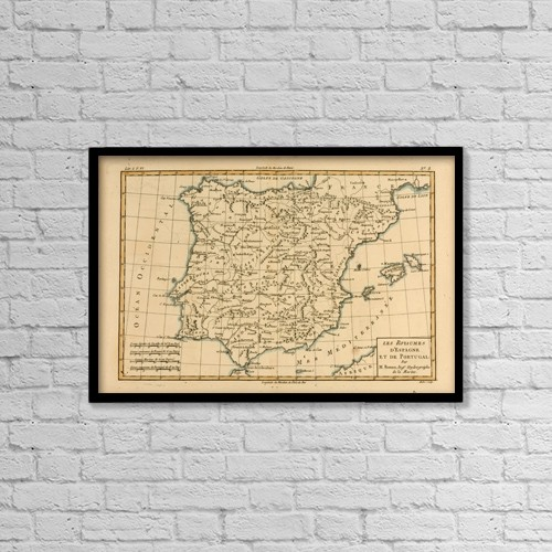 """Printscapes Wall Art: 18"""" x 12"""" Canvas Print With Black Frame - Map Of Spain And Portugal, Circa by Ken Welsh"""