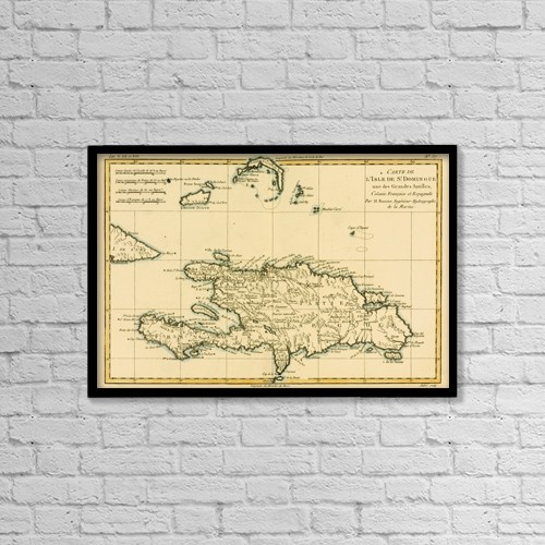 """Printscapes Wall Art: 18"""" x 12"""" Canvas Print With Black Frame - Map Of The Dominican Republic Circa by Ken Welsh"""