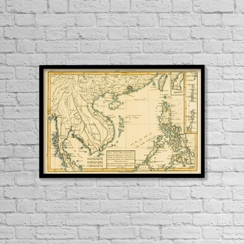 "Printscapes Wall Art: 18"" x 12"" Canvas Print With Black Frame - Map Of The Phillipinnes, Circa by Ken Welsh"