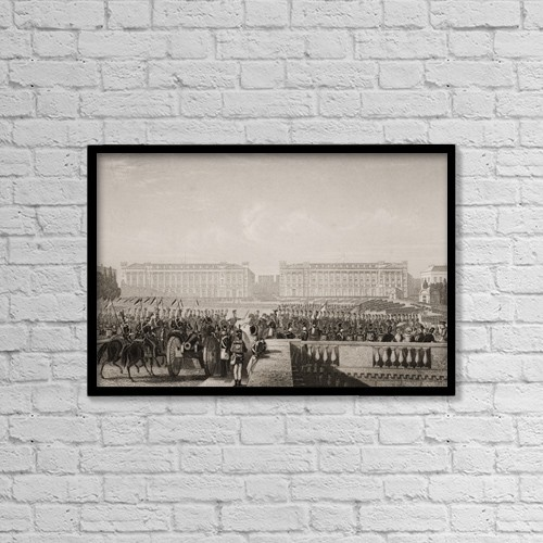 """Printscapes Wall Art: 18"""" x 12"""" Canvas Print With Black Frame - Entry Of The Allies Into Paris 1815 by Ken Welsh"""