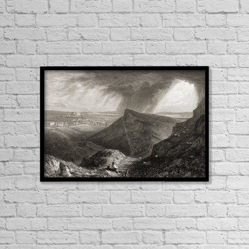 "Printscapes Wall Art: 18"" x 12"" Canvas Print With Black Frame - Edinburgh From The Ascent To Arthur's Seat by Ken Welsh"