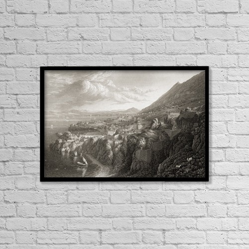 "Printscapes Wall Art: 18"" x 12"" Canvas Print With Black Frame - Gibraltar From Above Camp Bay by Ken Welsh"
