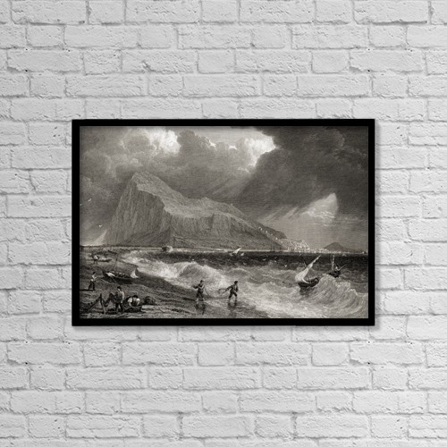 """Printscapes Wall Art: 18"""" x 12"""" Canvas Print With Black Frame - Gibraltar From The Bay Side by Ken Welsh"""