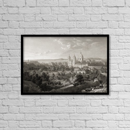 "Printscapes Wall Art: 18"" x 12"" Canvas Print With Black Frame - Lisbon From The Rua De San Miguel by Ken Welsh"
