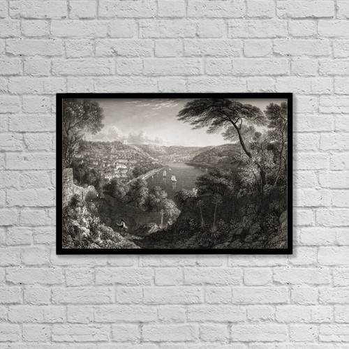 "Printscapes Wall Art: 18"" x 12"" Canvas Print With Black Frame - Oporto, From Monte D'arabida by Ken Welsh"