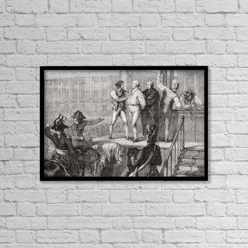 "Printscapes Wall Art: 18"" x 12"" Canvas Print With Black Frame - Execution Of Louis Xvi, 21 January 1793 by Ken Welsh"
