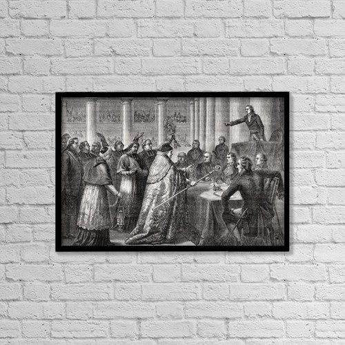 """Printscapes Wall Art: 18"""" x 12"""" Canvas Print With Black Frame - Gobel Resigns His Episcopal Office,1793 by Ken Welsh"""