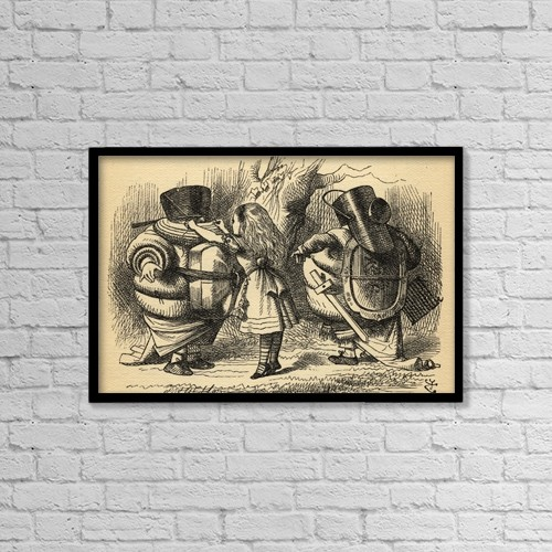 "Printscapes Wall Art: 18"" x 12"" Canvas Print With Black Frame - Alice With Tweedledum And Tweedledee by Ken Welsh"