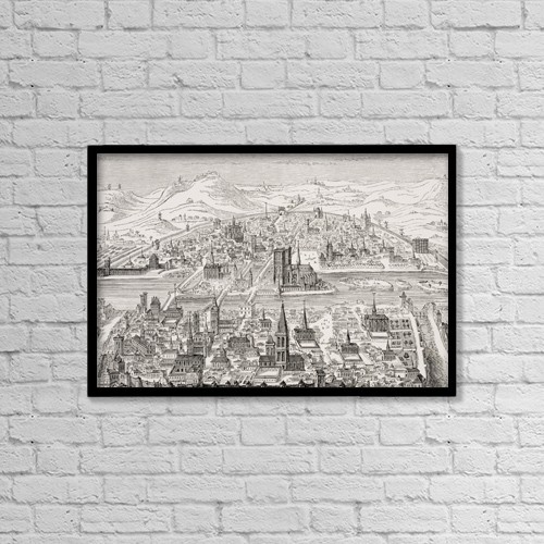 "Printscapes Wall Art: 18"" x 12"" Canvas Print With Black Frame - Perspective View Of Paris In 1607 by Ken Welsh"