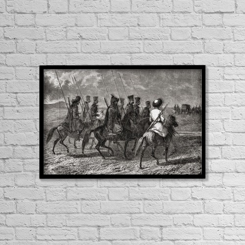 """Printscapes Wall Art: 18"""" x 12"""" Canvas Print With Black Frame - Cossack Escort by Ken Welsh"""