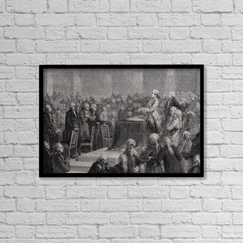 "Printscapes Wall Art: 18"" x 12"" Canvas Print With Black Frame - The King Accepts And Swears To The Constitution by Ken Welsh"
