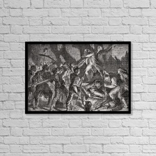 "Printscapes Wall Art: 18"" x 12"" Canvas Print With Black Frame - Massacre In The Prisons, September 1792 by Ken Welsh"
