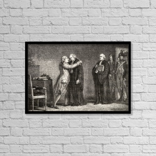 "Printscapes Wall Art: 18"" x 12"" Canvas Print With Black Frame - The King Meets With De Malesherbes by Ken Welsh"