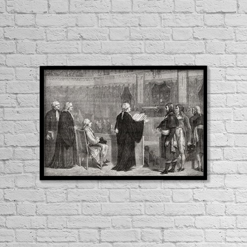 """Printscapes Wall Art: 18"""" x 12"""" Canvas Print With Black Frame - Louis Xvi Before The Convention, December 1792 by Ken Welsh"""