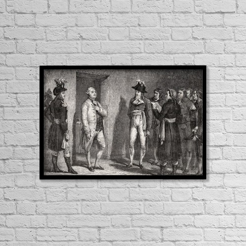 "Printscapes Wall Art: 18"" x 12"" Canvas Print With Black Frame - Garat Proclaims The Arrest Of The King by Ken Welsh"