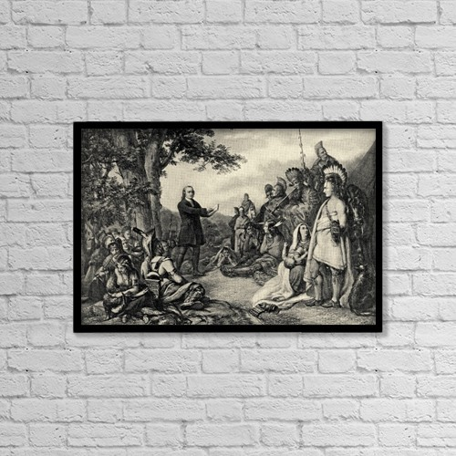 """Printscapes Wall Art: 18"""" x 12"""" Canvas Print With Black Frame - John Wesley Preaching To The Indians by Ken Welsh"""