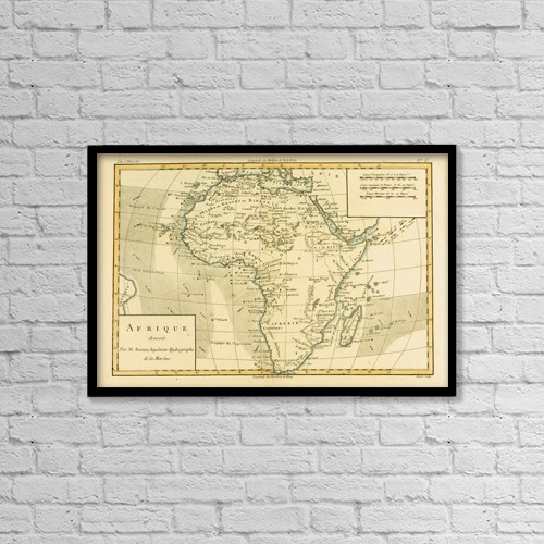 "Printscapes Wall Art: 18"" x 12"" Canvas Print With Black Frame - Map Of Africa, Circa by Ken Welsh"