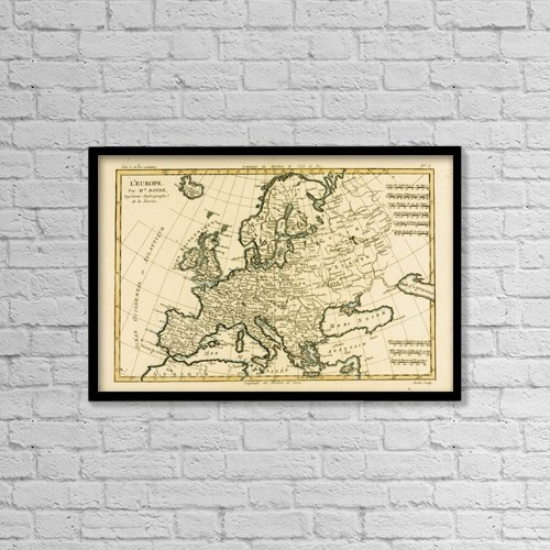 """Printscapes Wall Art: 18"""" x 12"""" Canvas Print With Black Frame - Map Of Europe, Circa 1760 by Ken Welsh"""