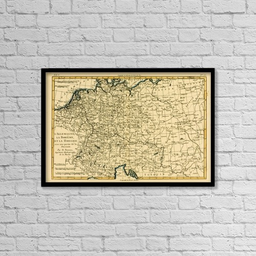 "Printscapes Wall Art: 18"" x 12"" Canvas Print With Black Frame - Map Of Germany, Bohemia And Hungary, Circa by Ken Welsh"