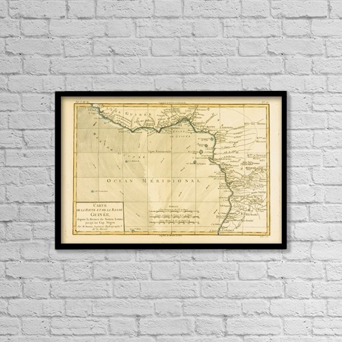 """Printscapes Wall Art: 18"""" x 12"""" Canvas Print With Black Frame - Map Of Guinea, Circa by Ken Welsh"""