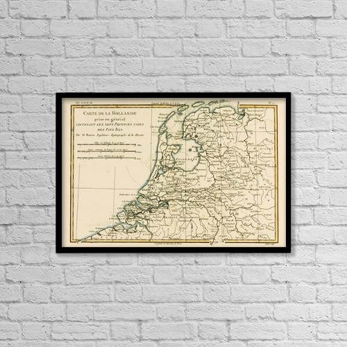 """Printscapes Wall Art: 18"""" x 12"""" Canvas Print With Black Frame - Map Of Holland, Circa by Ken Welsh"""