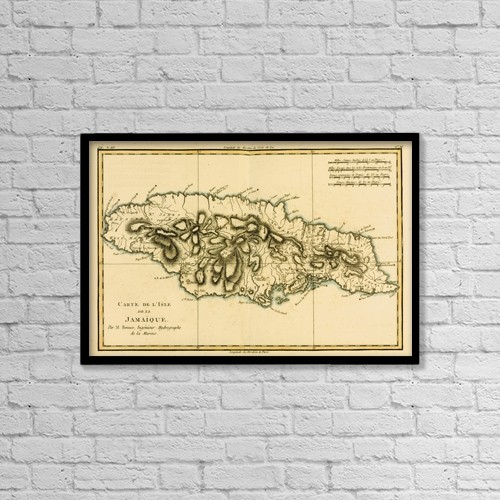 "Printscapes Wall Art: 18"" x 12"" Canvas Print With Black Frame - Map Of Jamaica Circa by Ken Welsh"