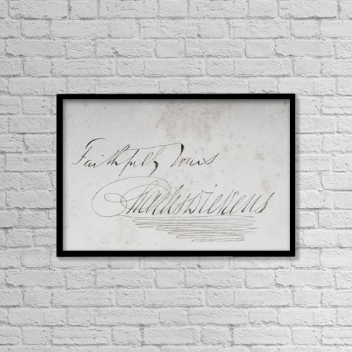 """Printscapes Wall Art: 18"""" x 12"""" Canvas Print With Black Frame - Signature Of Charles Dickens, 1812-1870 by Ken Welsh"""