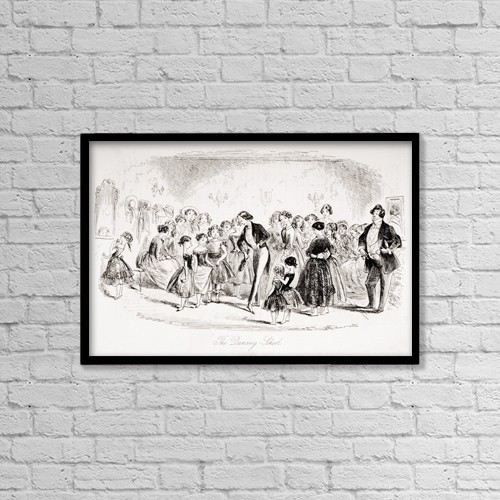 "Printscapes Wall Art: 18"" x 12"" Canvas Print With Black Frame - The Dancing School by Ken Welsh"