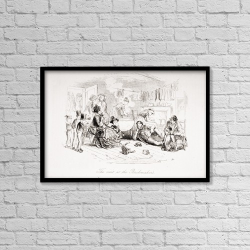 """Printscapes Wall Art: 18"""" x 12"""" Canvas Print With Black Frame - The Visit At The Brickmaker's by Ken Welsh"""