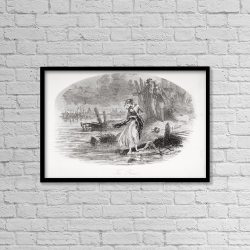"""Printscapes Wall Art: 18"""" x 12"""" Canvas Print With Black Frame - The River by Ken Welsh"""