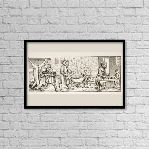 """Printscapes Wall Art: 18"""" x 12"""" Canvas Print With Black Frame - Interior Of A 16Th Century Kitchen by Ken Welsh"""