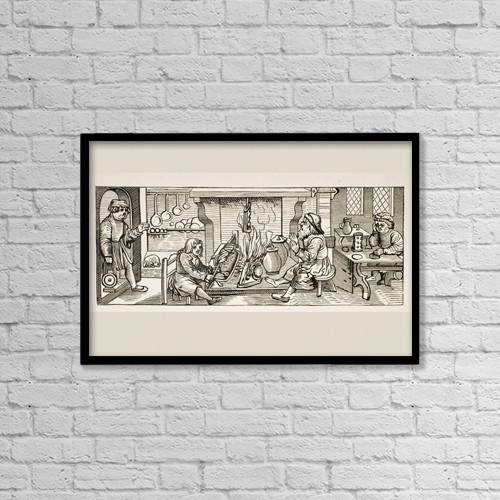 "Printscapes Wall Art: 18"" x 12"" Canvas Print With Black Frame - Interior Of A 16Th Century Kitchen by Ken Welsh"