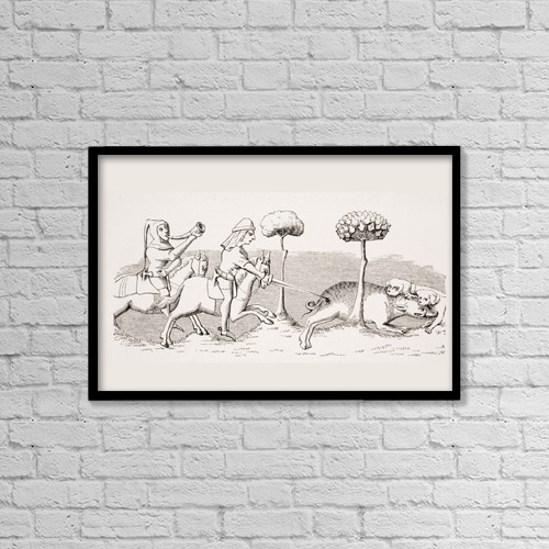 """Printscapes Wall Art: 18"""" x 12"""" Canvas Print With Black Frame - Sport With Dogs by Ken Welsh"""