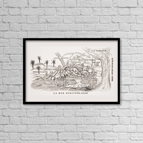 "Printscapes Wall Art: 18"" x 12"" Canvas Print With Black Frame - View Of 16Th Century Alexandria Egypt by Ken Welsh"