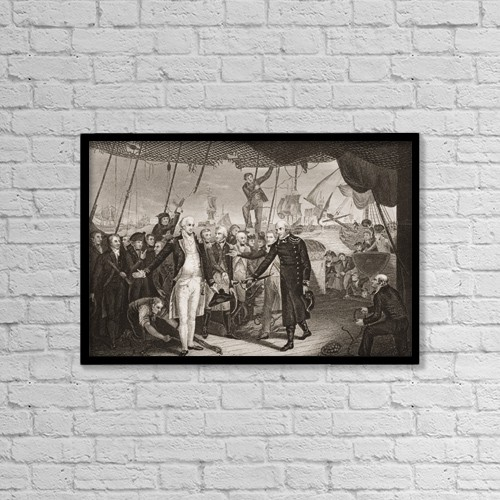 """Printscapes Wall Art: 18"""" x 12"""" Canvas Print With Black Frame - Lord Viscount Duncan's Victory by Ken Welsh"""