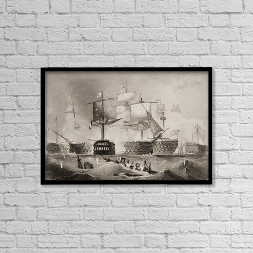 "Printscapes Wall Art: 18"" x 12"" Canvas Print With Black Frame - The Battle Of Trafalgar by Ken Welsh"