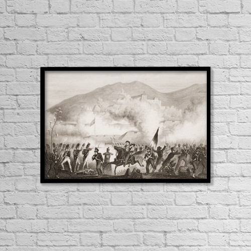 "Printscapes Wall Art: 18"" x 12"" Canvas Print With Black Frame - Torres Vedras, 1810 by Ken Welsh"