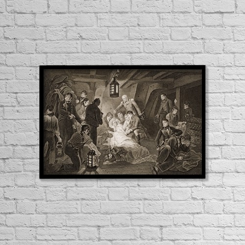 """Printscapes Wall Art: 18"""" x 12"""" Canvas Print With Black Frame - Death Of Lord Nelson by Ken Welsh"""