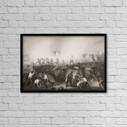 "Printscapes Wall Art: 18"" x 12"" Canvas Print With Black Frame - The Battle Of Ciudad Rodrigo,19Th January 1812 by Ken Welsh"