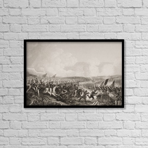 """Printscapes Wall Art: 18"""" x 12"""" Canvas Print With Black Frame - Battle Of Salamanca, 22Nd July 1812 by Ken Welsh"""