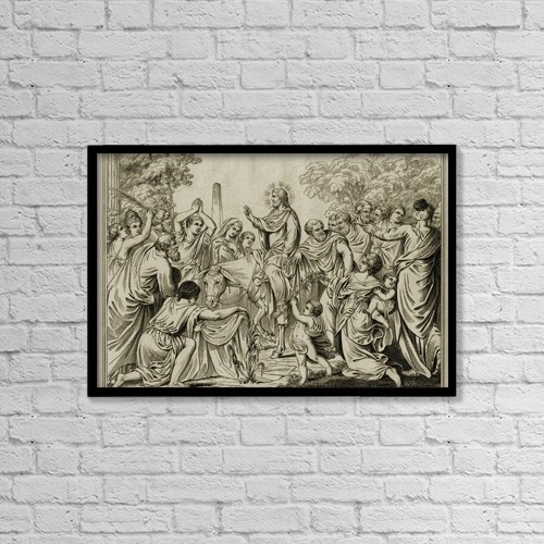 """Printscapes Wall Art: 18"""" x 12"""" Canvas Print With Black Frame - Christ's Entry Into Jerusalem by Ken Welsh"""