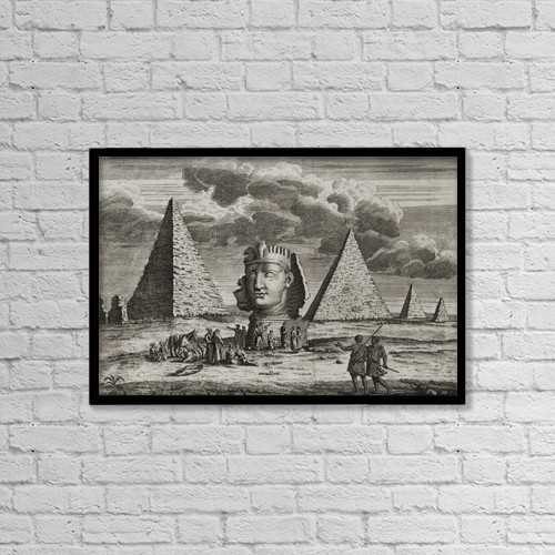 "Printscapes Wall Art: 18"" x 12"" Canvas Print With Black Frame - Giza, Egypt by Ken Welsh"