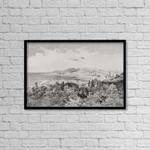 "Printscapes Wall Art: 18"" x 12"" Canvas Print With Black Frame - Malaga, Spain Looking West, By Edward T by Ken Welsh"
