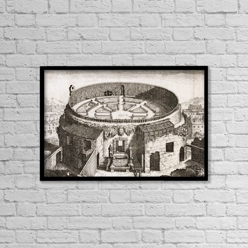 """Printscapes Wall Art: 18"""" x 12"""" Canvas Print With Black Frame - The Mausoleum Of Augustus, Rome, Italy by Ken Welsh"""