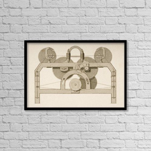 """Printscapes Wall Art: 18"""" x 12"""" Canvas Print With Black Frame - End Elevation Of Throstle by Ken Welsh"""